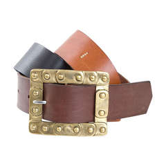 70's Jil Sander Leather Belt in Black & 2 Brown Shades with Brass Buckle