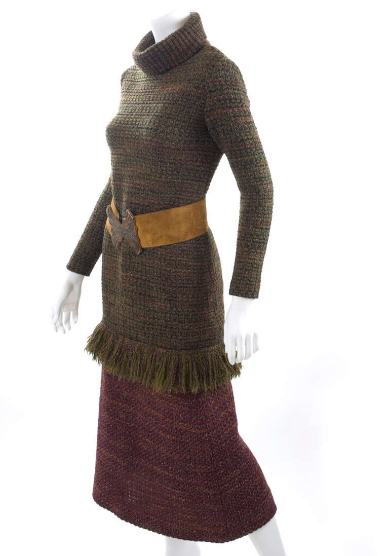 60's Yves Saint Laurent Knit Skirt and Sweater with Butterfly Belt 2