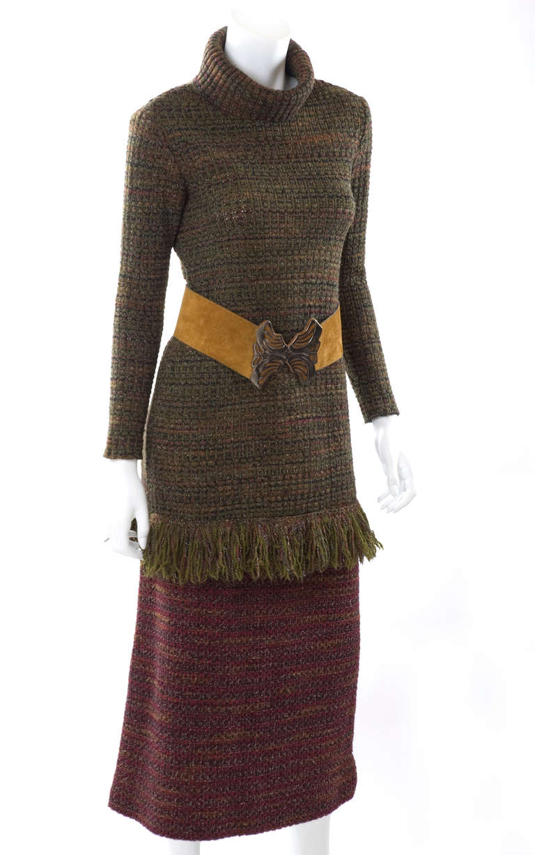 60's Yves Saint Laurent Knit Skirt and Sweater with Butterfly Belt 4
