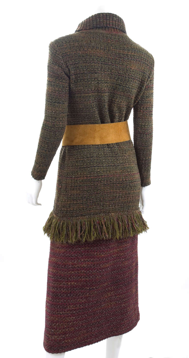 60's Yves Saint Laurent Knit Skirt and Sweater with Butterfly Belt 7