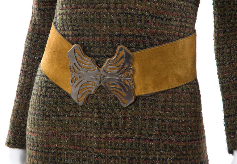60's Yves Saint Laurent Knit Skirt and Sweater with Butterfly Belt 6