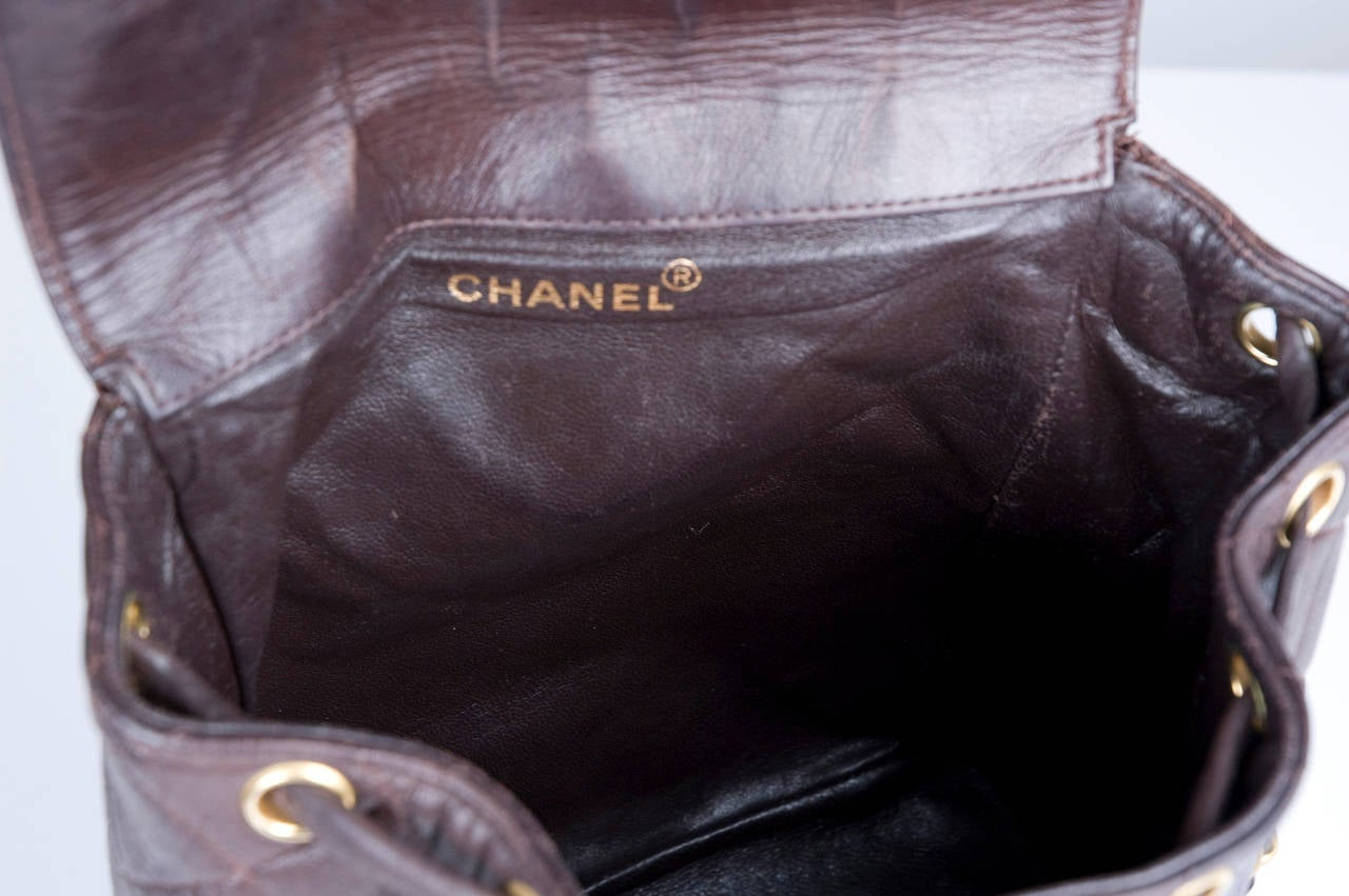 Chanel Brown Calf-Leather Backpack 9