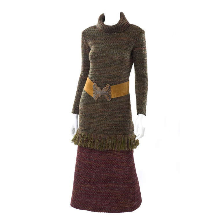 60's Yves Saint Laurent Knit Skirt and Sweater with Butterfly Belt 1