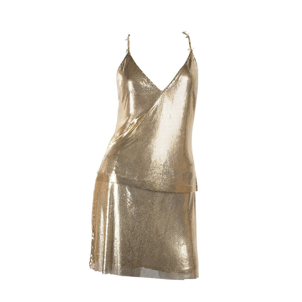 1982 Gianni Versace Couture Metal Mesh Oroton Top and Skirt 1