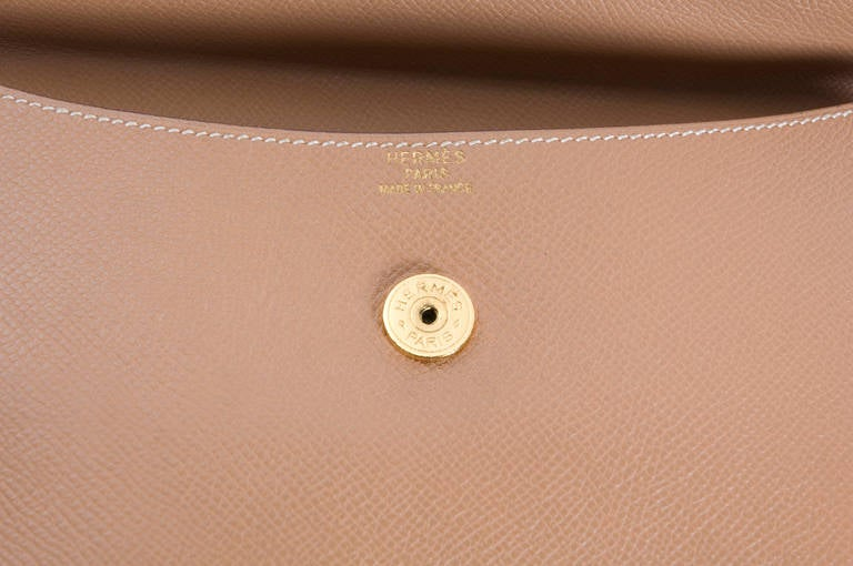 Hermes Pochette RIO brown Couchevel Leather. at 1stdibs