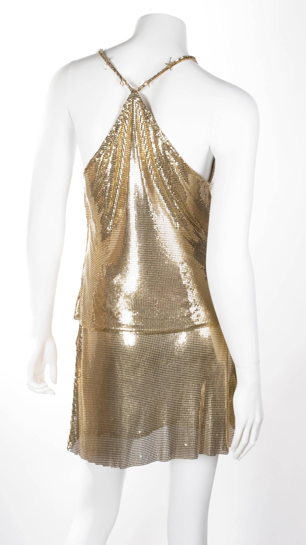 1982 Gianni Versace Couture Metal Mesh Oroton Top and Skirt 7