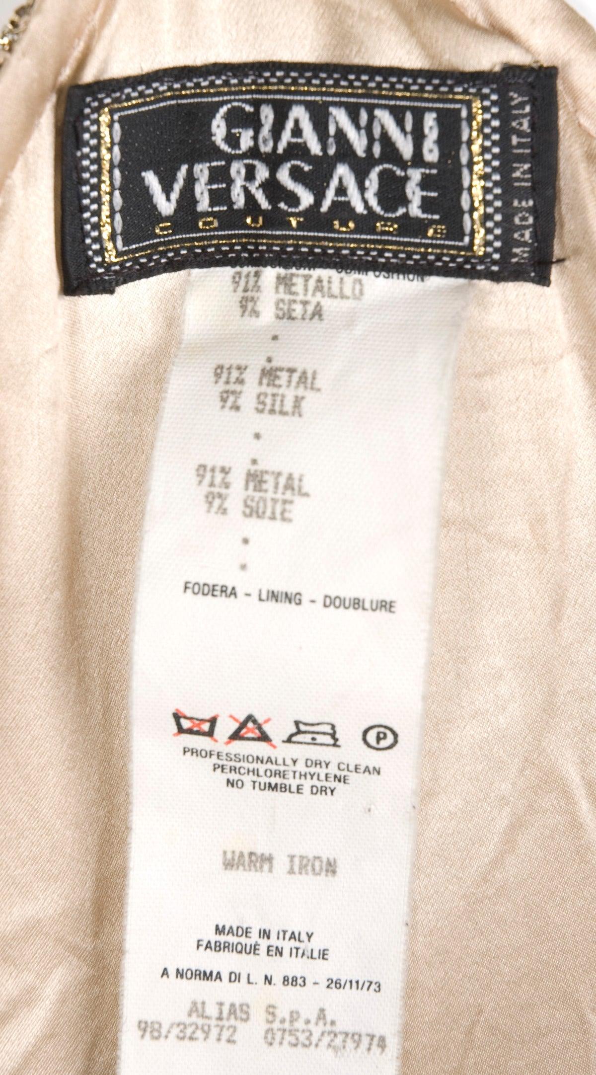 1982 Gianni Versace Couture Metal Mesh Oroton Top and Skirt 8