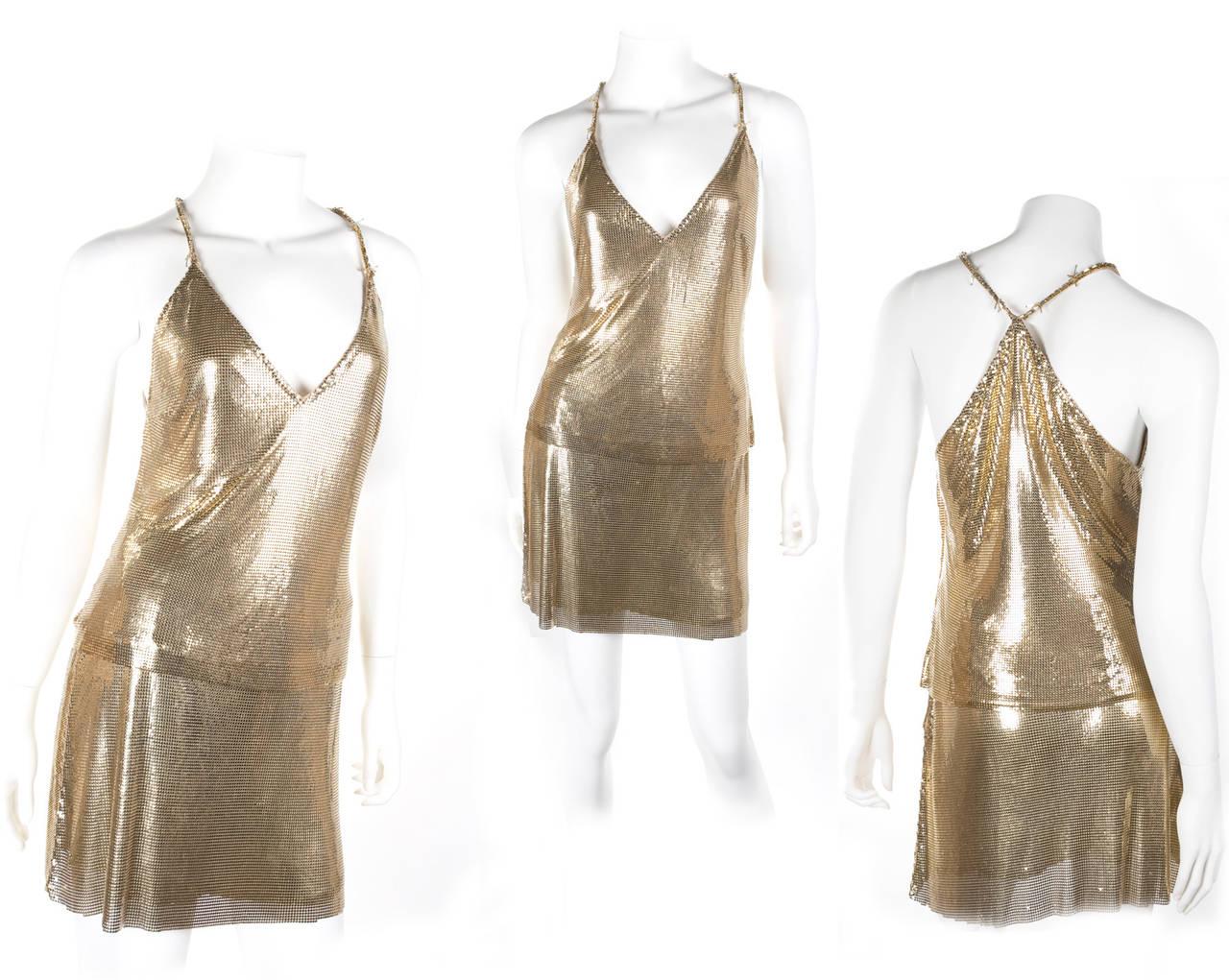 1982 Gianni Versace Couture Metal Mesh Oroton Top and Skirt 2