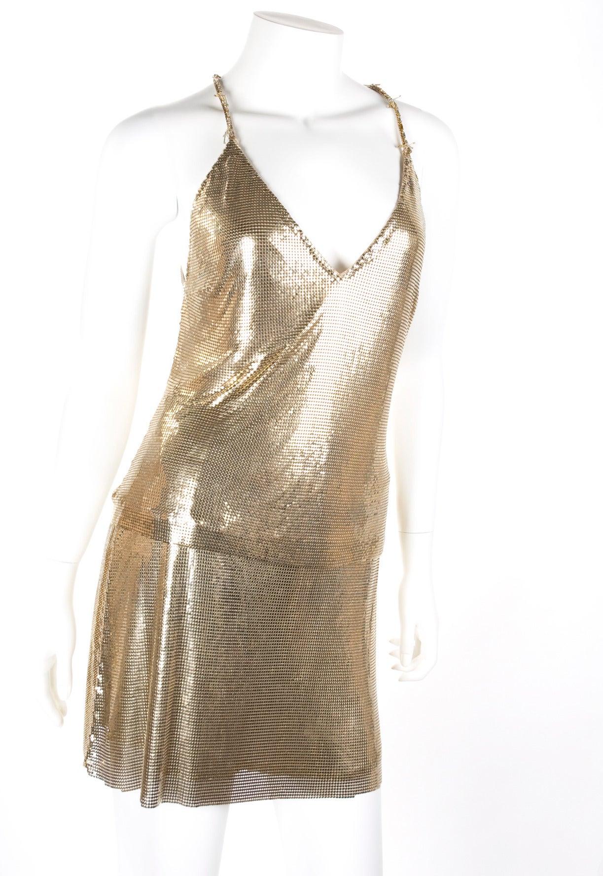1982 Gianni Versace Couture Metal Mesh Oroton Top and Skirt 3