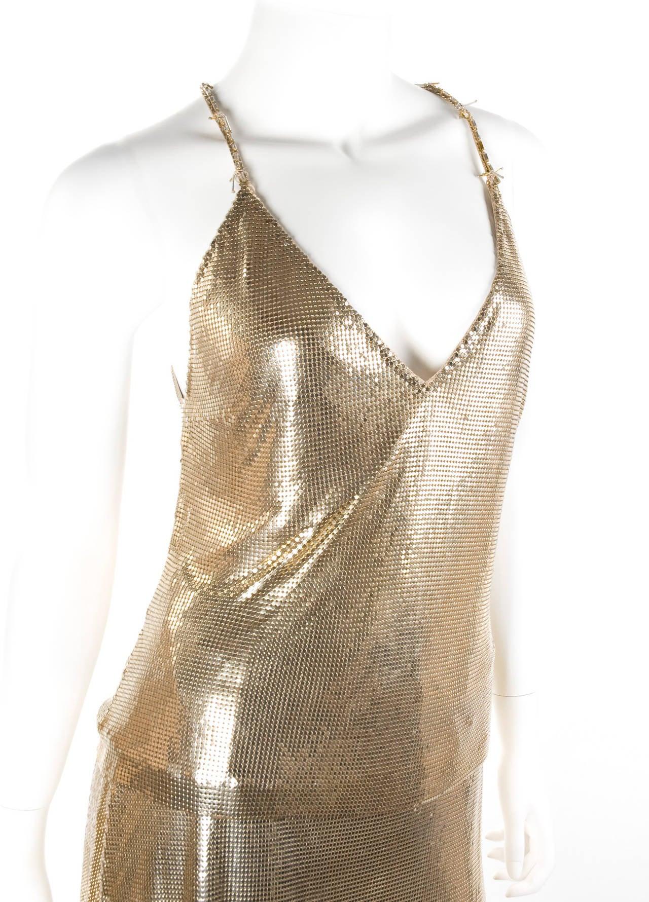 1982 Gianni Versace Couture Metal Mesh Oroton Top and Skirt 4
