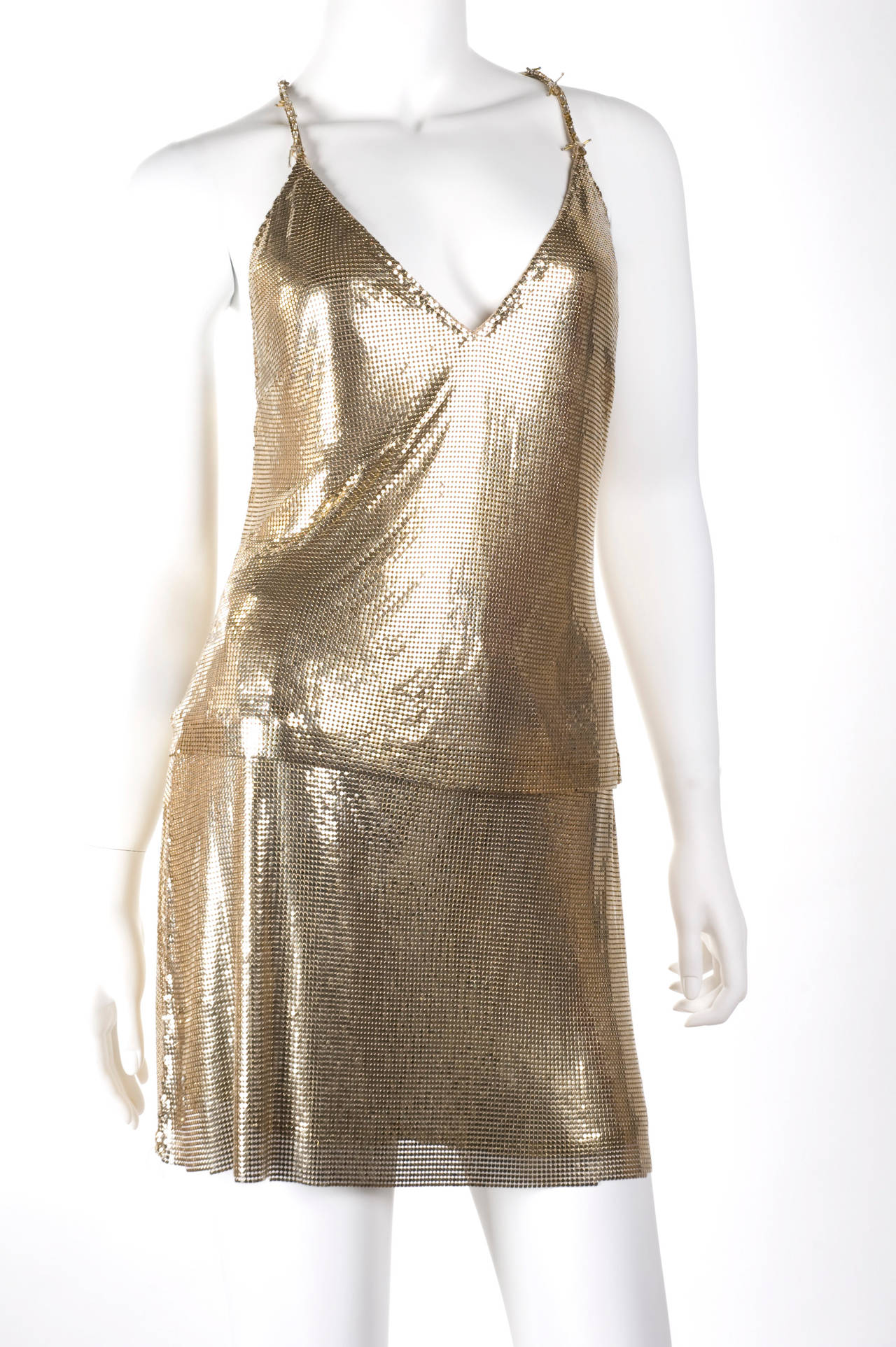 1982 Gianni Versace Couture Metal Mesh Oroton Top and Skirt 5
