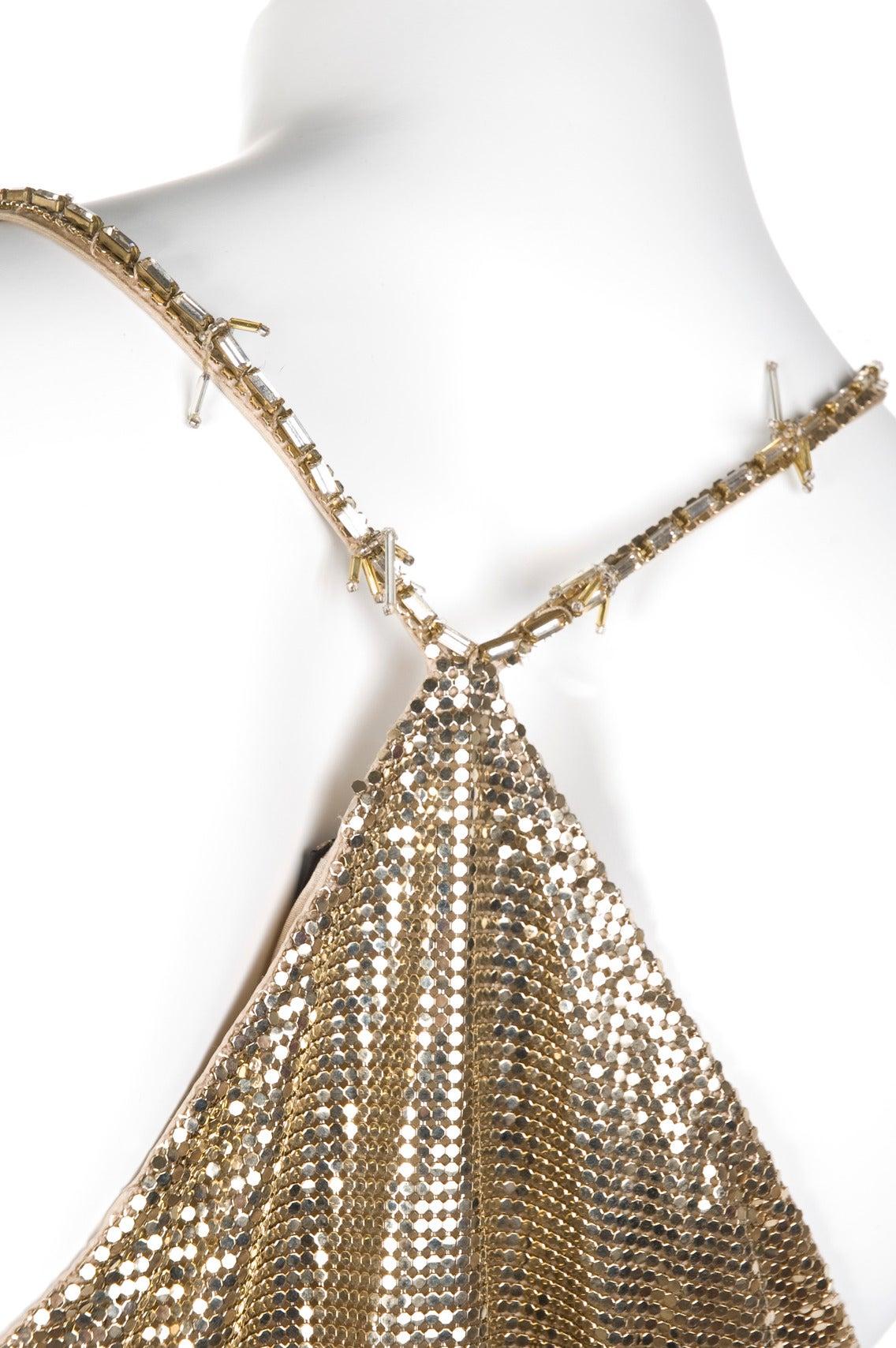 1982 Gianni Versace Couture Metal Mesh Oroton Top and Skirt 6