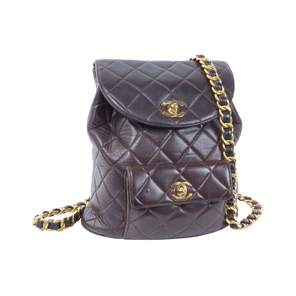 Chanel Brown Calf-Leather Backpack 1