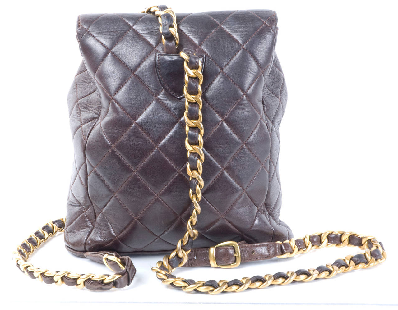 Chanel Brown Calf-Leather Backpack 4