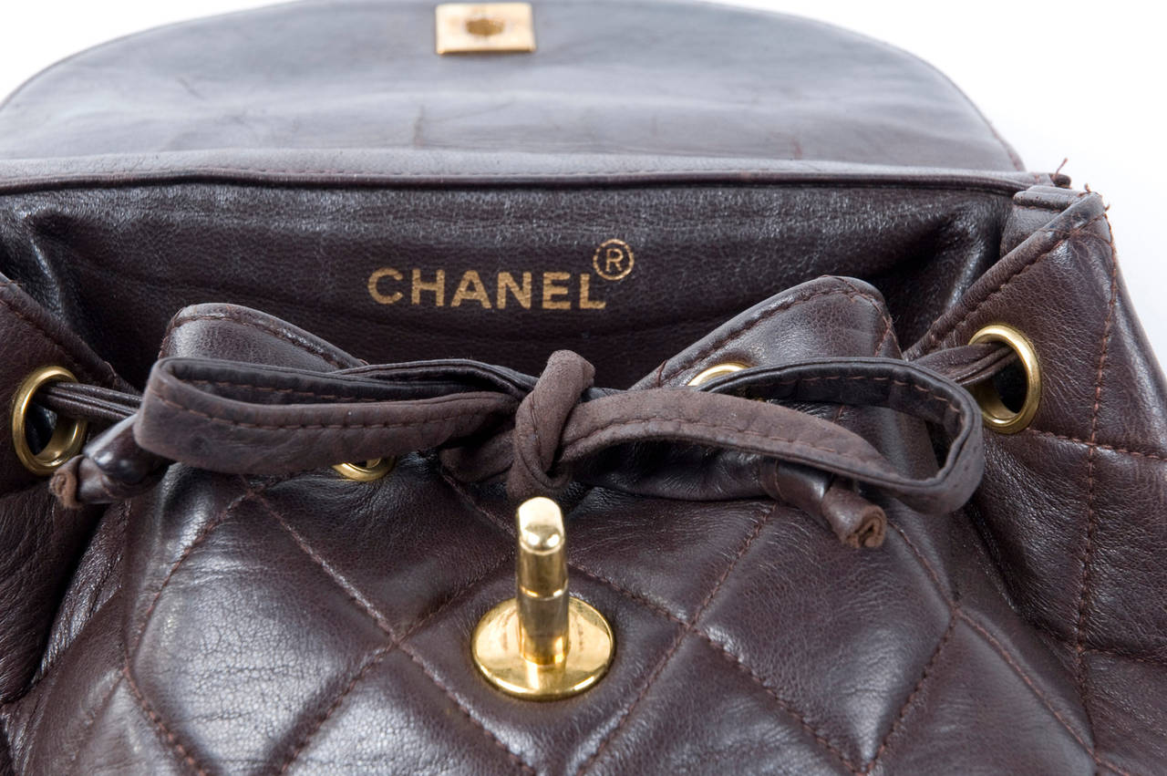Chanel Brown Calf-Leather Backpack 5