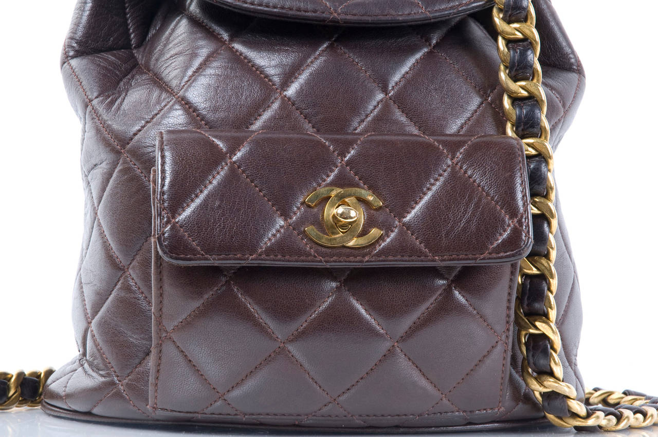 Chanel Brown Calf-Leather Backpack 7