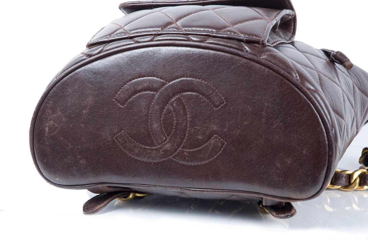 Chanel Brown Calf-Leather Backpack 8