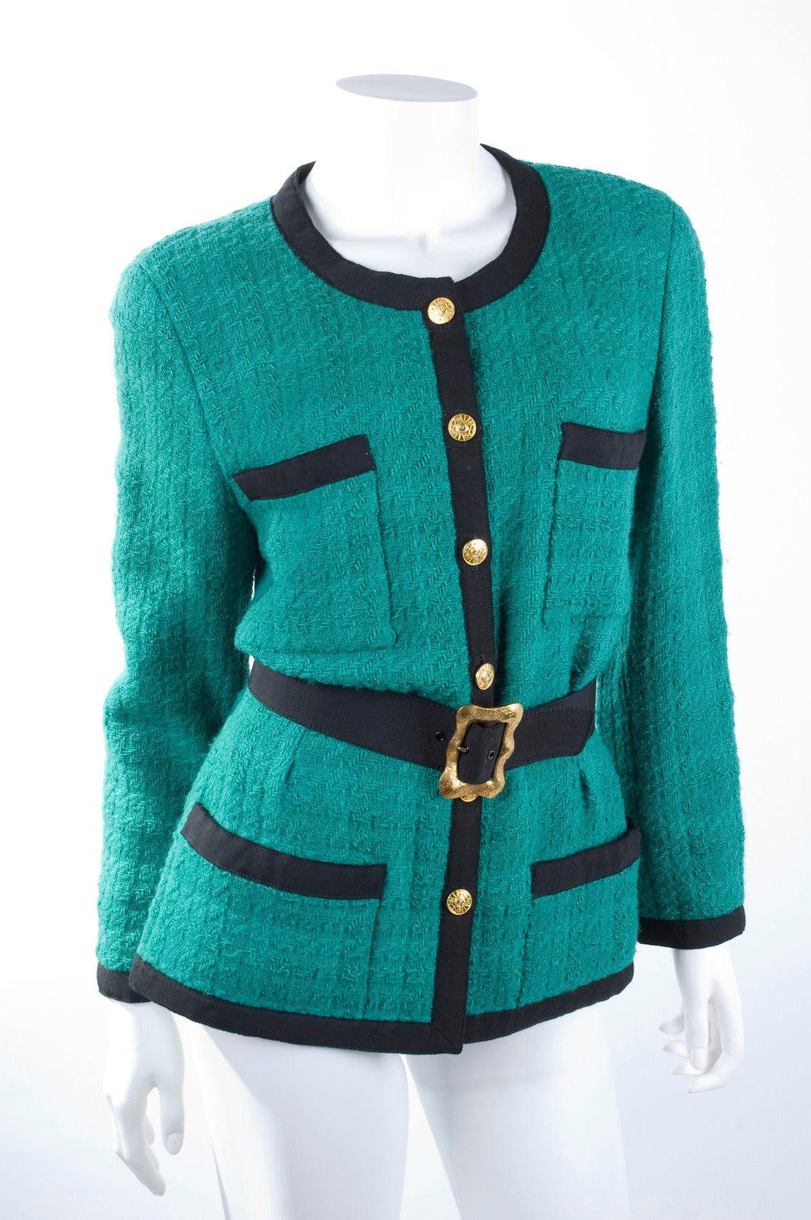 Chanel Jacket with Belt In Excellent Condition For Sale In Hamburg, DE