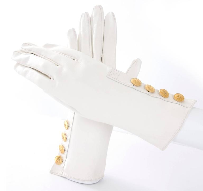 90's Hermes Leather Gloves - like new. 4