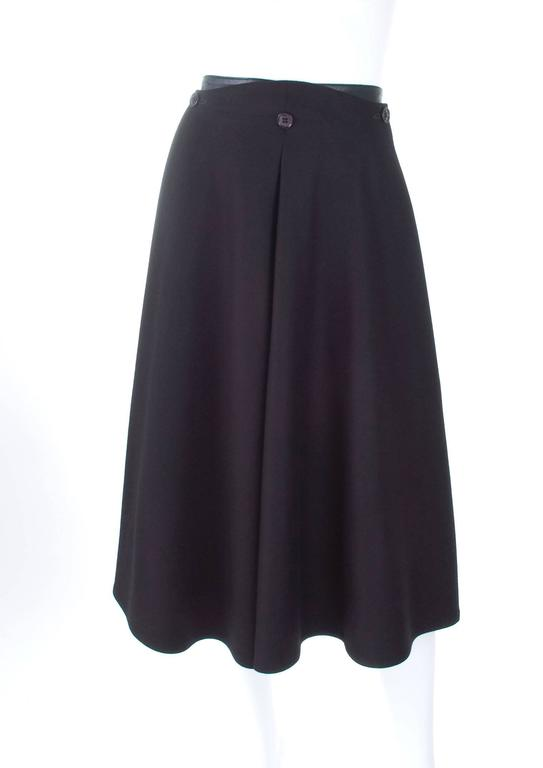 Vintage 80's Gianfranco Ferre Black Skirt Wool and Leather 4