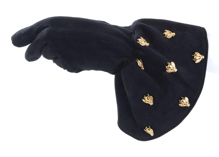 Vintage Christian Dior Boutique Black Suede Gloves Embelished with  Bee's 2