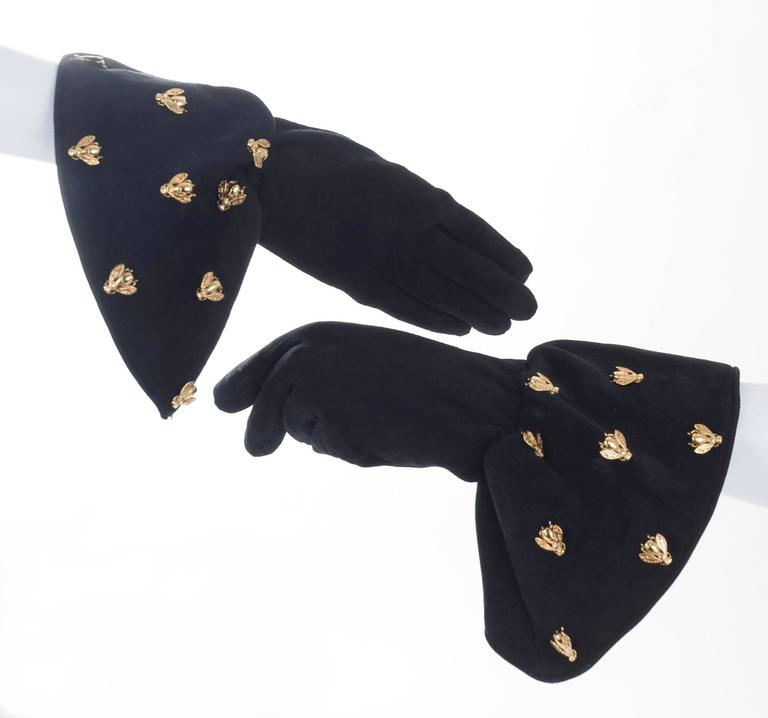 Vintage Christian Dior Boutique Black Suede Gloves Embelished with  Bee's 5