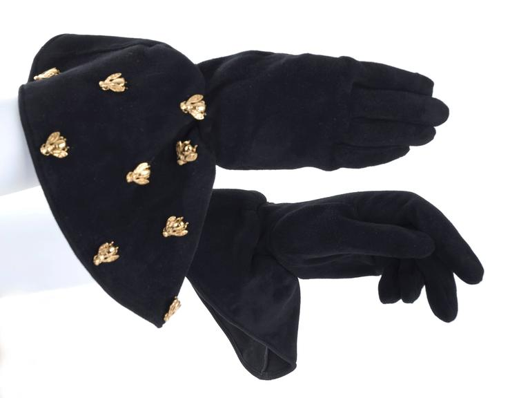 Vintage Christian Dior Boutique Black Suede Gloves Embelished with  Bee's 7