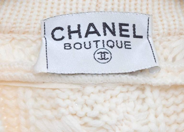 Vintage CHANEL Pearl Encrusted Cable Knit Cardigan in Creme sz.Large 9