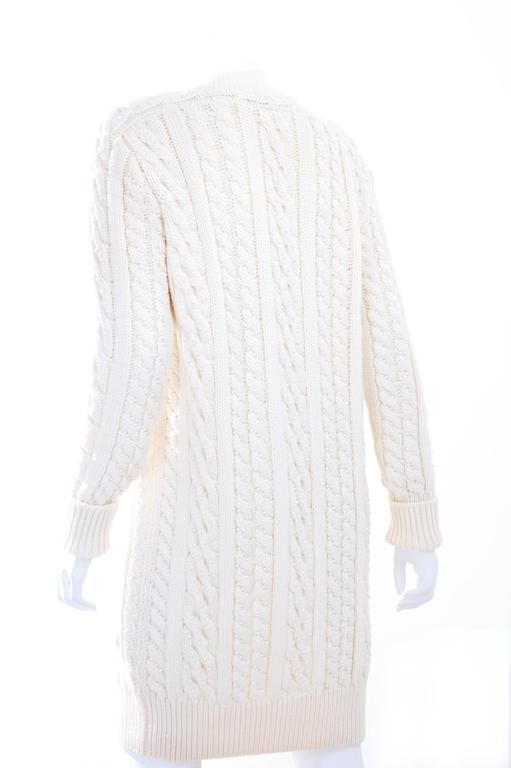 Vintage CHANEL Pearl Encrusted Cable Knit Cardigan in Creme sz.Large 6