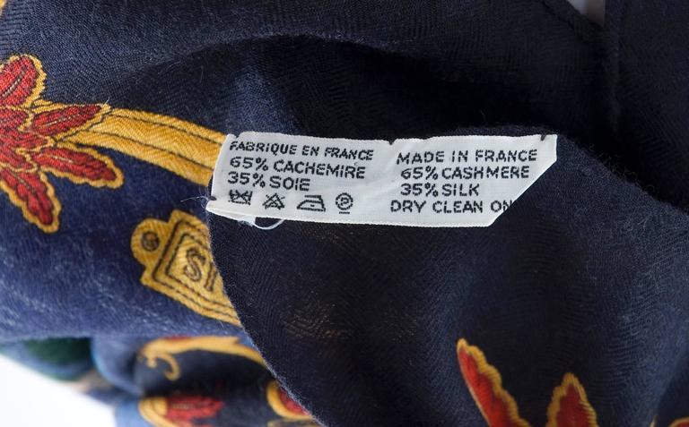 Rare Vintage Hermes Scarf Joies D'Hiver Navy Border Cashmere/Silk  9