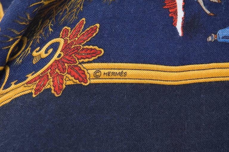 Rare Vintage Hermes Scarf Joies D'Hiver Navy Border Cashmere/Silk  5