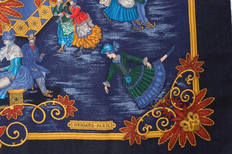 Rare Vintage Hermes Scarf Joies D'Hiver Navy Border Cashmere/Silk  4