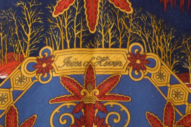 Rare Vintage Hermes Scarf Joies D'Hiver Navy Border Cashmere/Silk  3