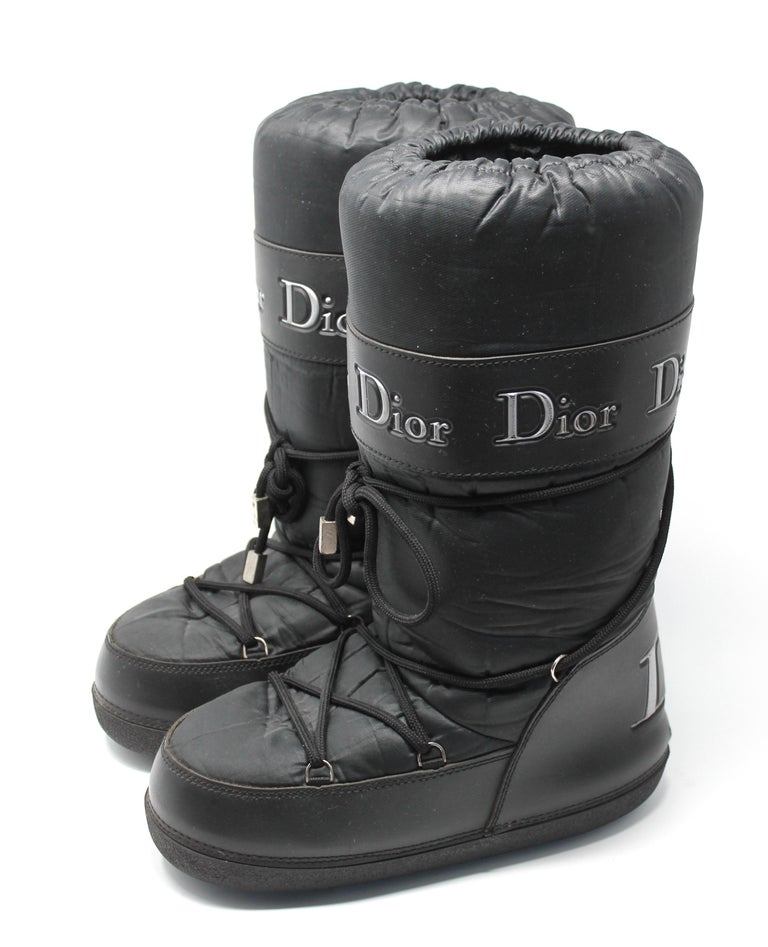 Dior Black Nylon Apres Ski Boots  For Sale 1
