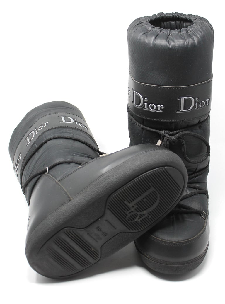 Dior Black Nylon Apres Ski Boots  For Sale 4