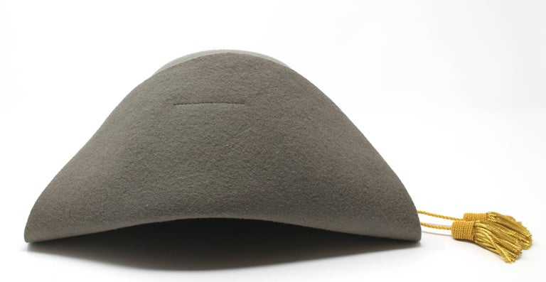 Black Vivienne Westwood Grey Pirate Hat, AW 1981 reissue, Size US M For Sale