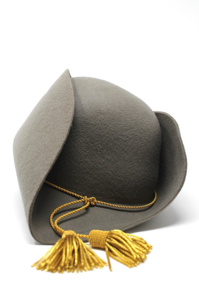 Women's or Men's Vivienne Westwood Grey Pirate Hat, AW 1981 reissue, Size US M For Sale