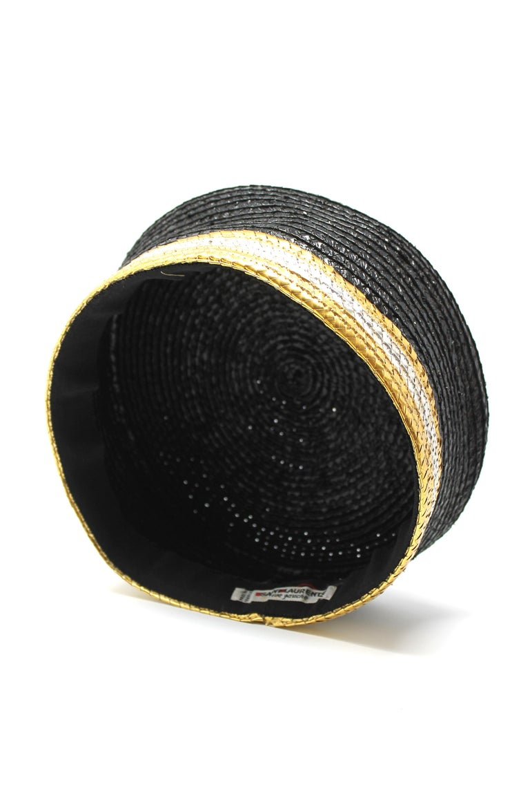 Yves Saint Laurent Black and Gold Raffia Cap, c. 1980s In Good Condition For Sale In Los Angeles, CA