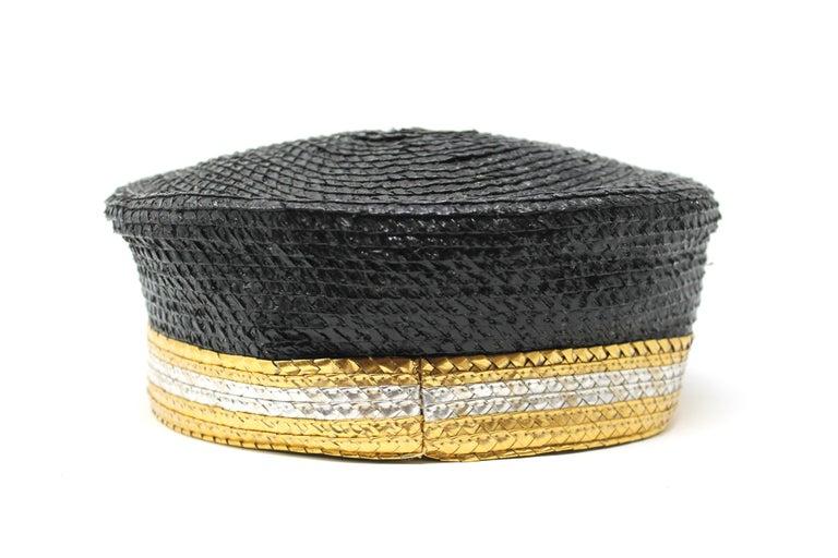 Yves Saint Laurent Black and Gold Raffia Cap, c. 1980s For Sale 1