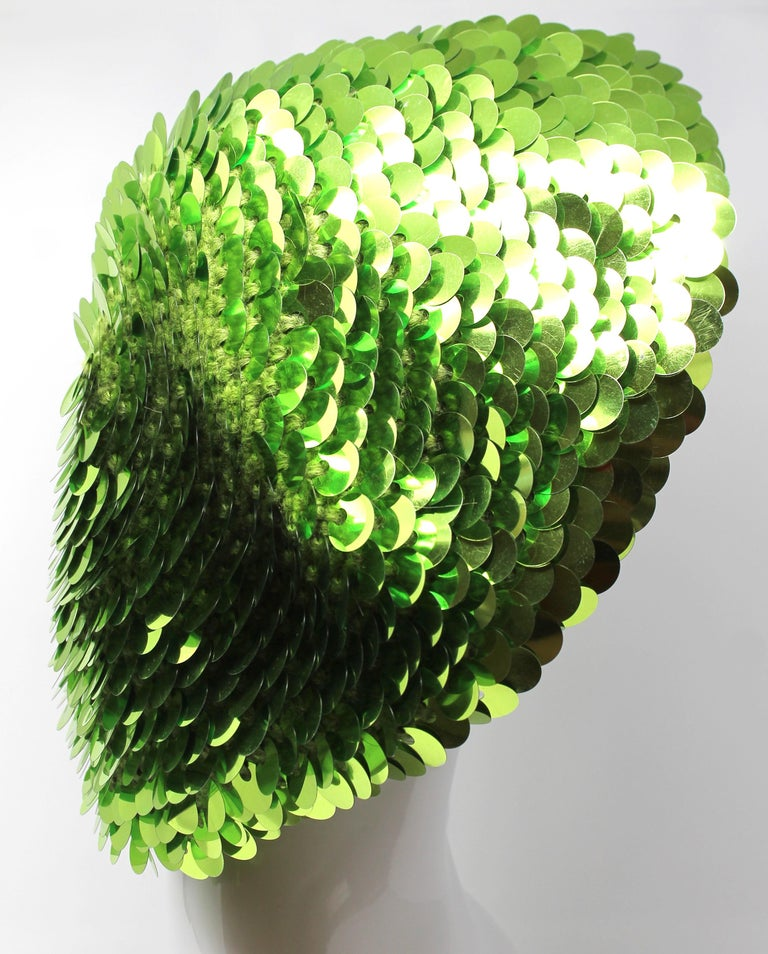 Marc Jacobs Lime Green Sequined Beanie, AW 2006, One Size In Excellent Condition For Sale In Los Angeles, CA