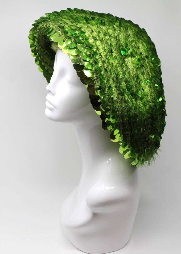 Women's or Men's Marc Jacobs Lime Green Sequined Beanie, AW 2006, One Size For Sale