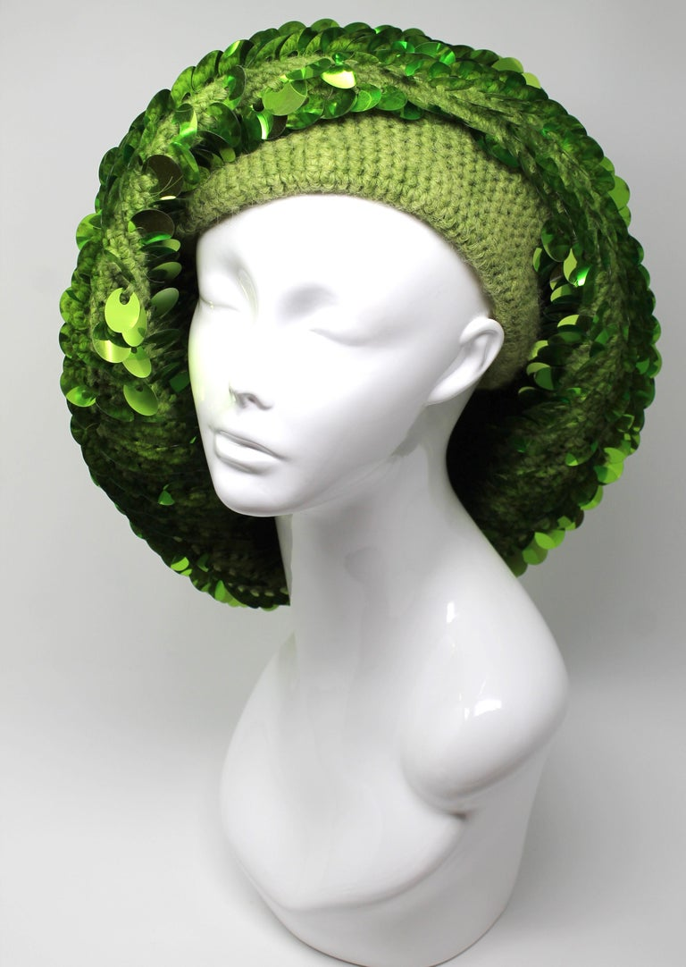 Marc Jacobs Lime Green Sequined Beanie, AW 2006, One Size For Sale 2