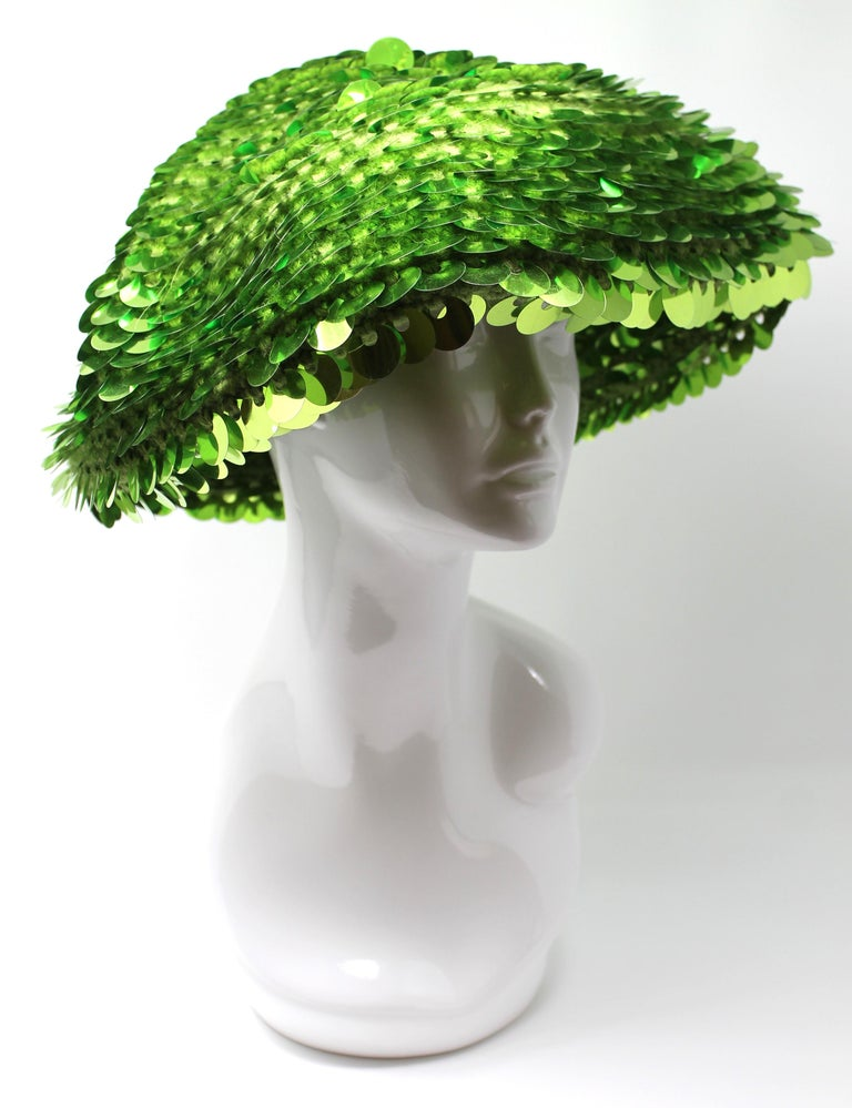 Marc Jacobs Lime Green Sequined Beanie, AW 2006, One Size For Sale 3