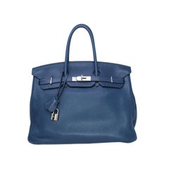 Hermes Birkin 35cm in Navy Blue with Palladium hardware