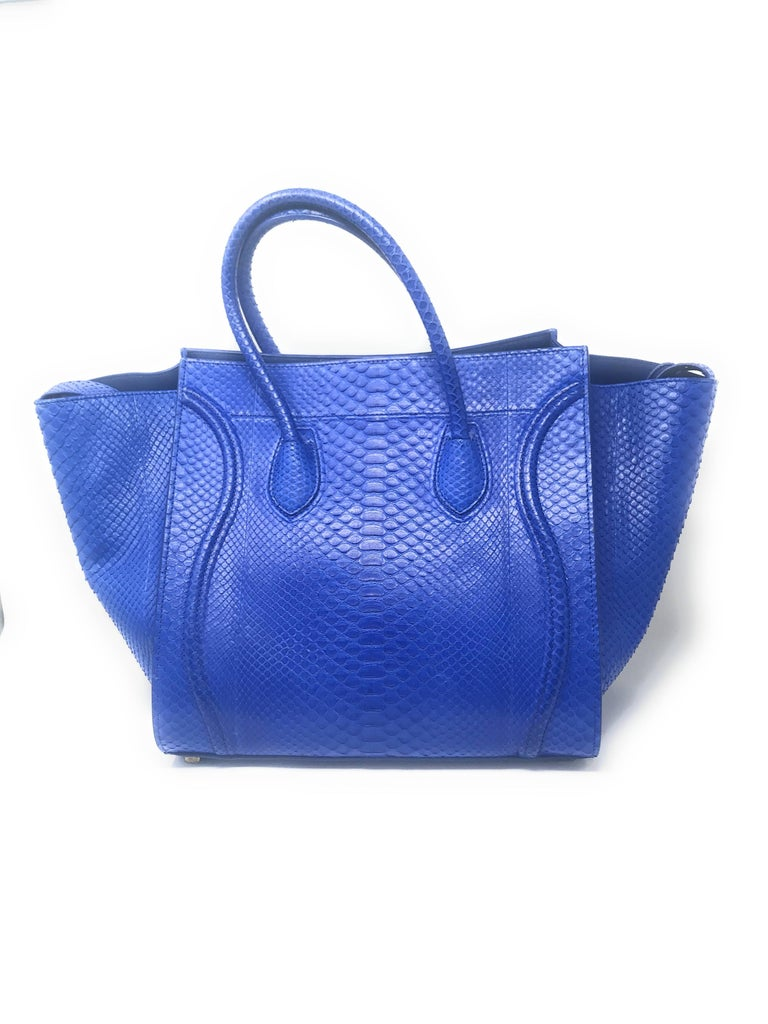 Celine Phantom Blue Python Bag In Good Condition For Sale In New York, NY