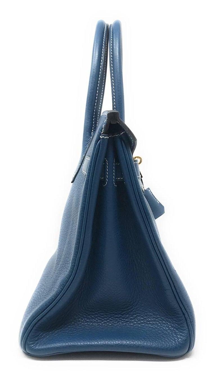 8978166cde5e Hermes Birkin 32cm Blue Thalassa In Good Condition For Sale In New York