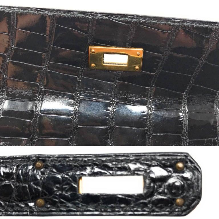 Hermes Kelly 28cm Black Shiny Alligator Bag For Sale 3