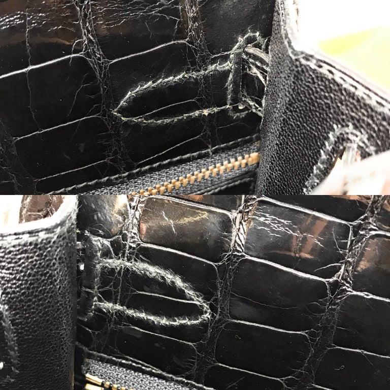 Hermes Kelly 28cm Black Shiny Alligator Bag For Sale 6