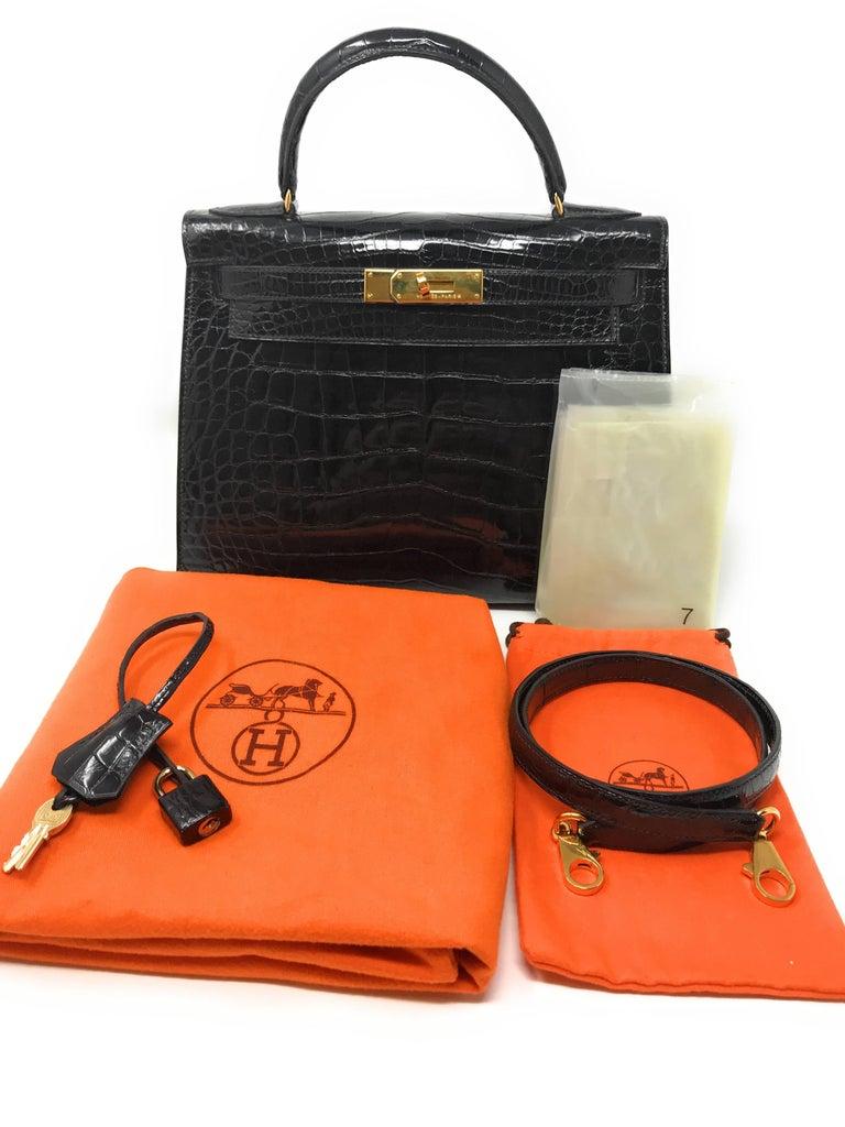 Hermes Kelly 28cm Black Shiny Alligator Bag For Sale 7