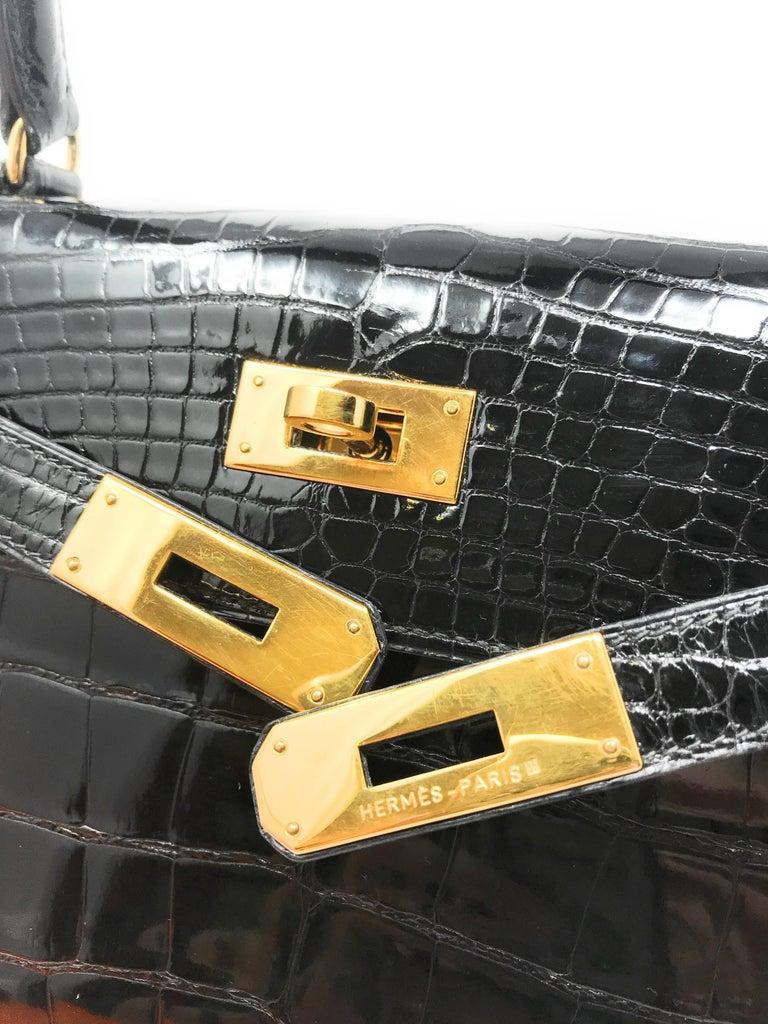 Hermes Kelly 28cm Black Shiny Alligator Bag For Sale 1